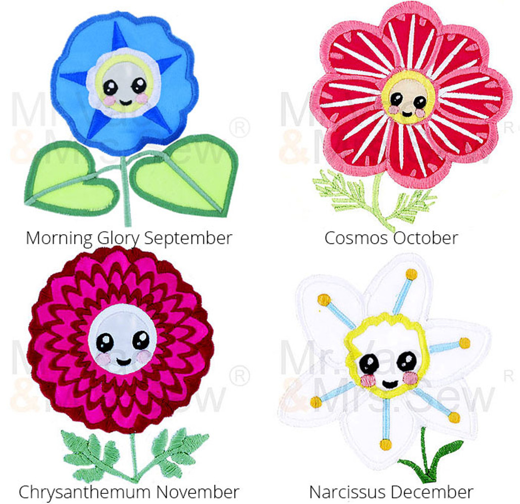 FREE Embroidery Design Meet the Flowers Pack 3