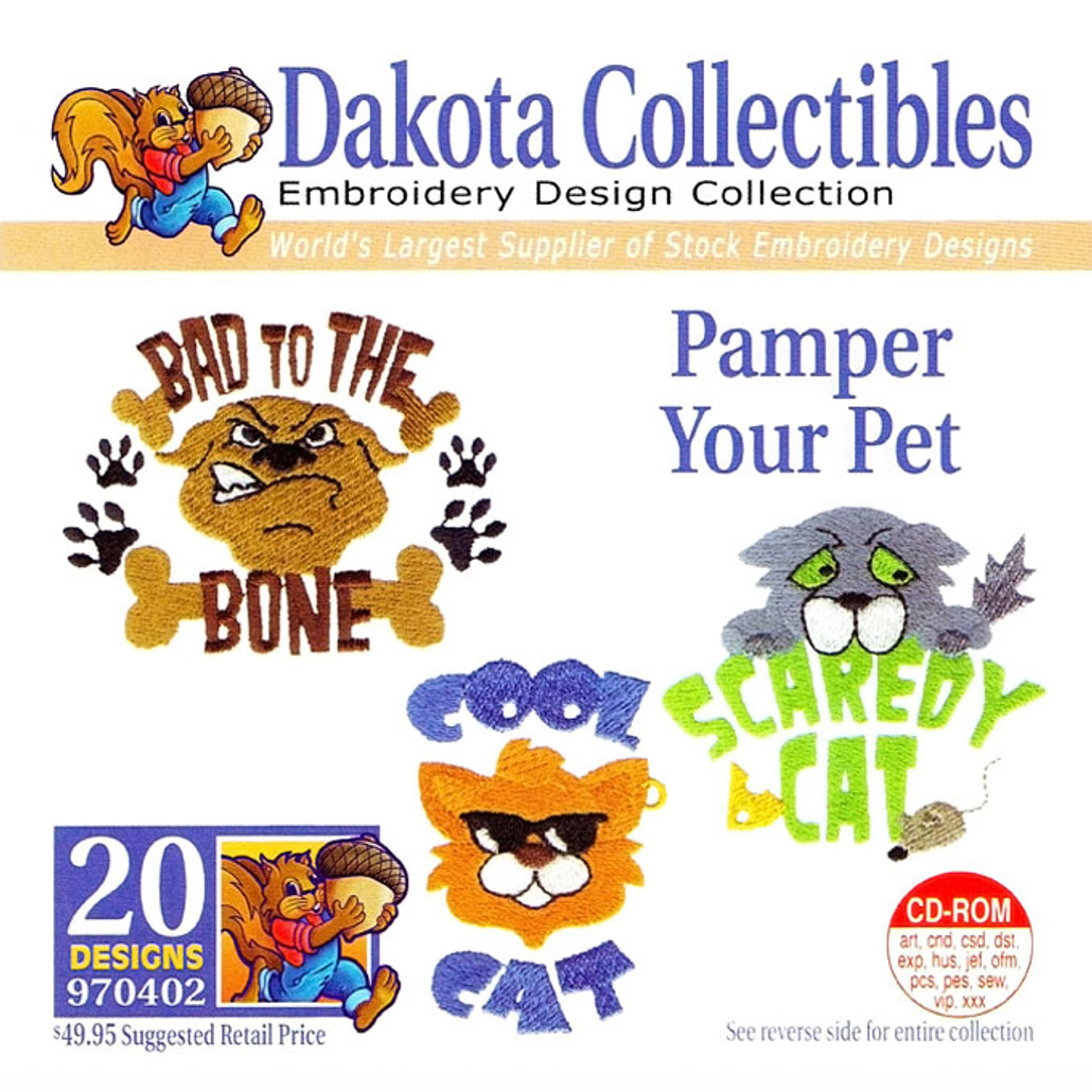 Dakota Collectibles Pamper Your Pet Embroidery Design CD