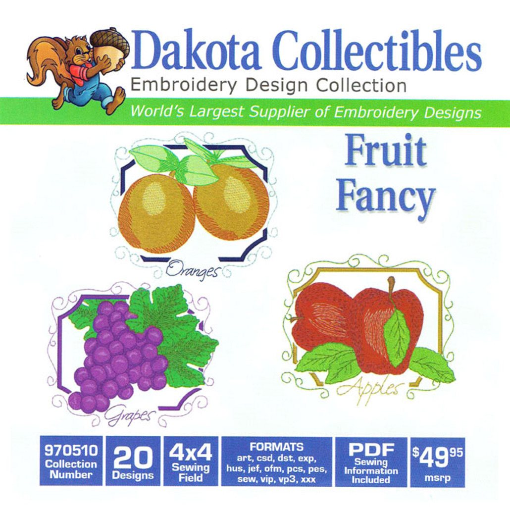 Dakota Collectibles Fruit Fancy Embroidery Design CD