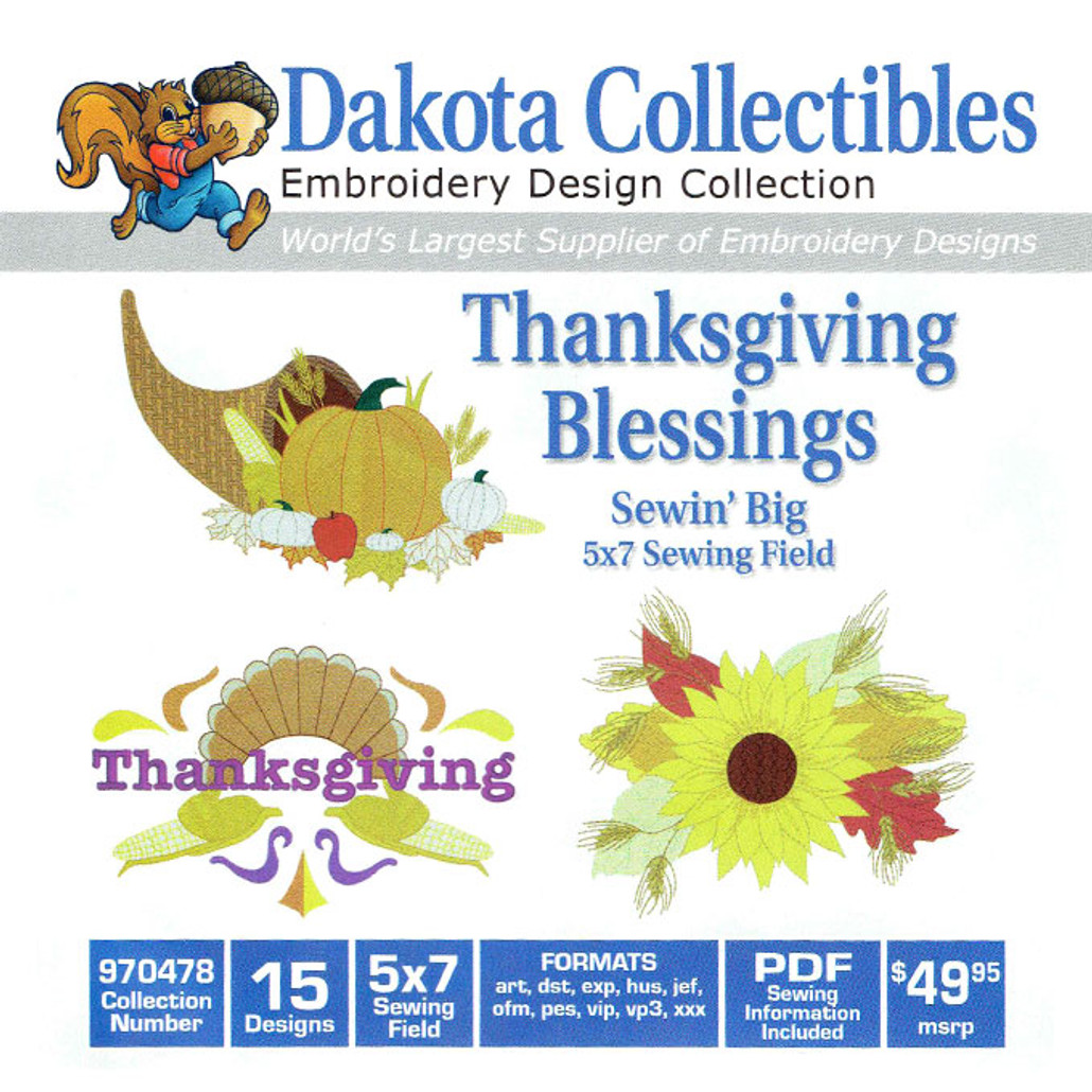 Dakota Collectibles Sewin' Big Thanksgiving Blessings Embroidery Design CD
