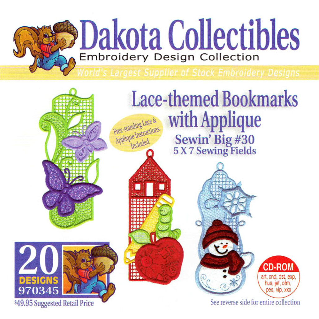 Dakota Collectibles Sewin' Big #30 Lace-themed Bookmarks with Applique Embroidery Design CD