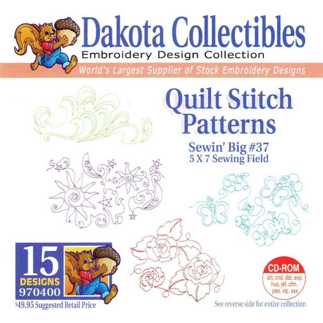 Dakota Collectibles Sewin' Big #37 Quilt Stitch Patterns Embroidery Design CD