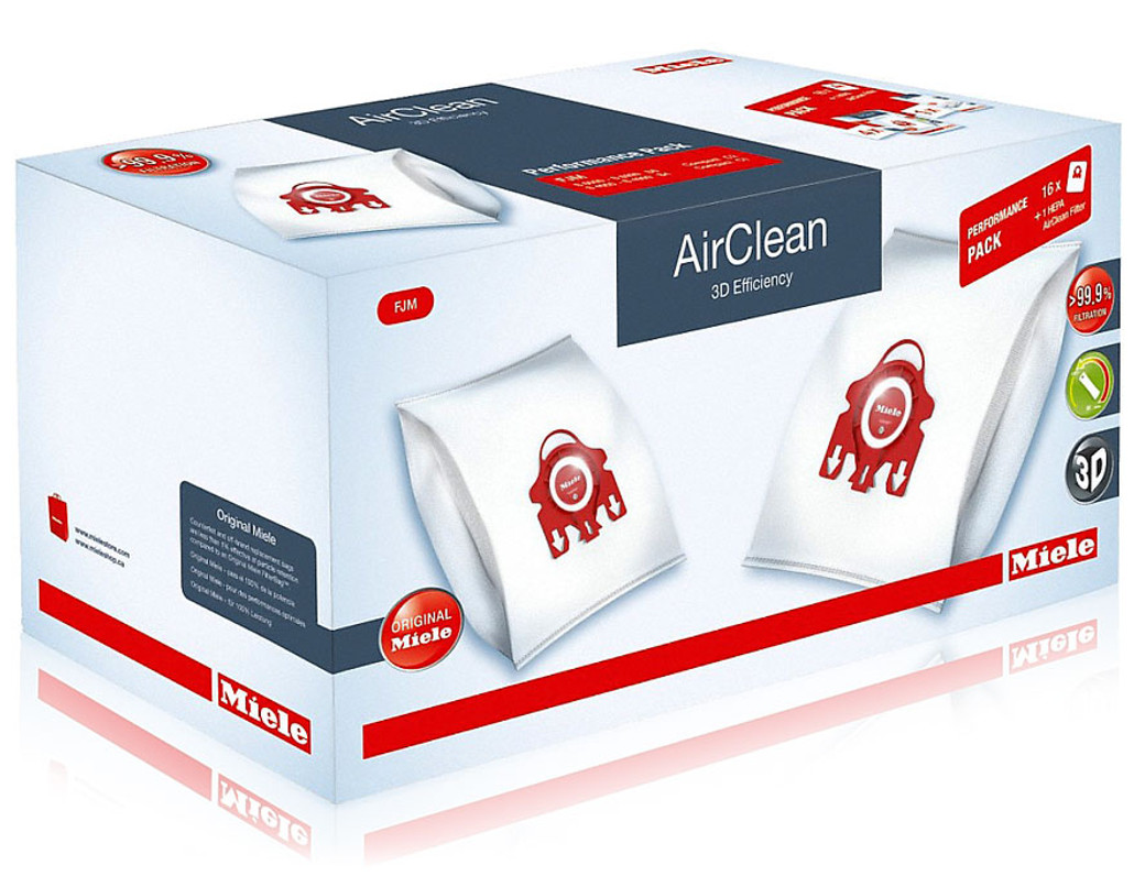 Miele Performance Pack 16 Type FJM AirClean 3D Efficiency FilterBags + HA50 HEPA Filter