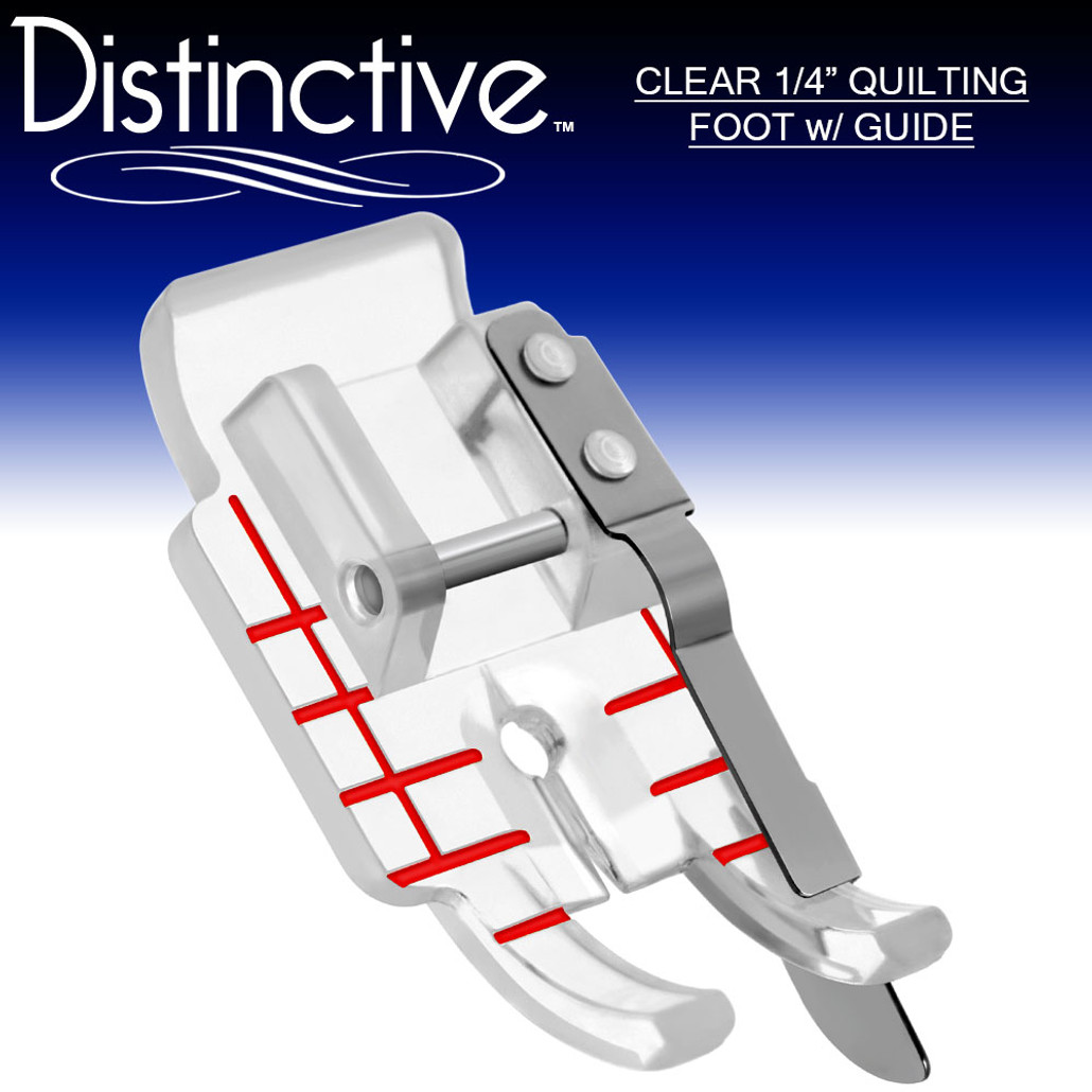 "Distinctive Clear 1-4"" Quilting/Sewing Machine Presser Foot with Edge Guide w/ Free Shipping"