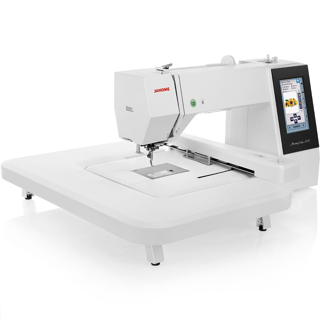 Janome Memory Craft 500e Computerized Embroidery Machine w/ FREE! Spool Stand and Embroidery Hoop V.I.P Reward Package and FREE! Next-Day Shipping