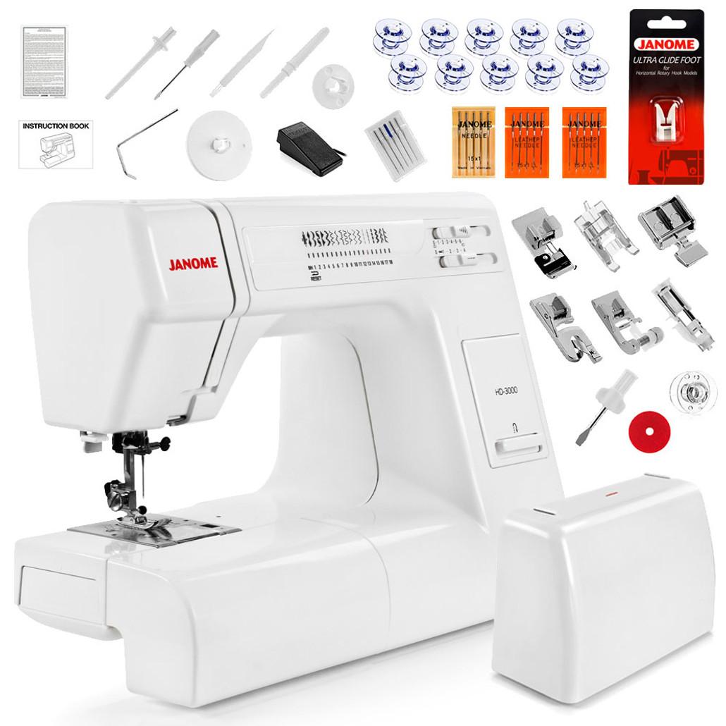 Janome HD3000 Heavy Duty Sewing Machine w/ FREE! 5-Piece V.I.P Reward Package