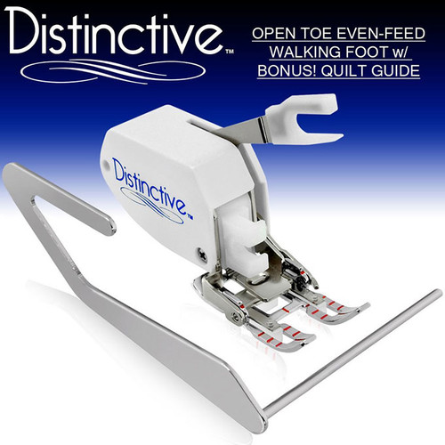 Distinctive Premium Open Toe Even Feed Walking Sewing Machine Presser Foot with BONUS! Quilt Guide w/ Free Shipping