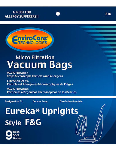 EnviroCare® Micro-Filtration Eureka Style F & G Upright Vacuum Cleaner Bags
