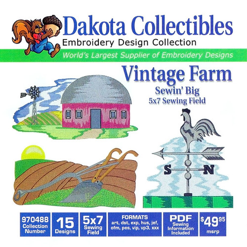 Dakota Collectibles Vintage Farm Embroidery Design CD