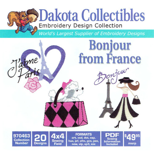 Dakota Collectibles Bonjour From France Embroidery Design CD