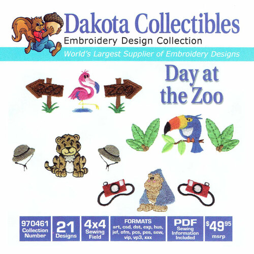 Dakota Collectibles Day At The Zoo Embroidery Design CD