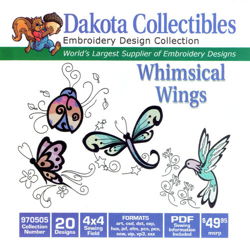 Dakota Collectibles Whimsical Wings Embroidery Design CD