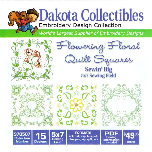 Dakota Collectibles Sewin' Big Flowering Floral Quilt Squares Embroidery Design CD