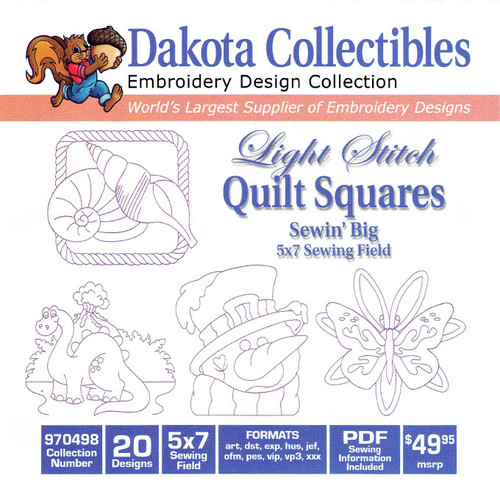 Dakota Collectibles Sewin' Big Light Stitch Quilt Squares Embroidery Design CD