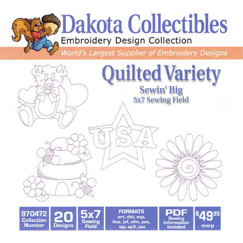 Dakota Collectibles Sewin' Big Quilted Variety Embroidery Design CD