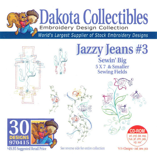 Dakota Collectibles Sewin' Big Jazzy Jeans #3 Embroidery Design CD