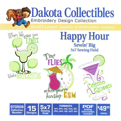 Dakota Collectibles Sewin' Big Happy Hour Embroidery Design CD