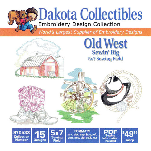Dakota Collectibles Sewin' Big Old West Embroidery Design CD