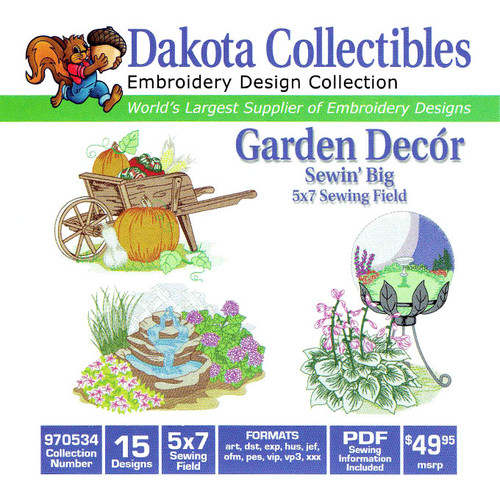 Dakota Collectibles Sewin' Big Garden Decór Embroidery Design CD