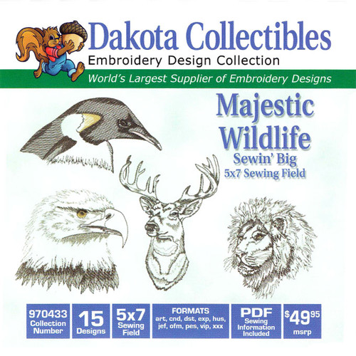 Dakota Collectibles Sewin' Big Majestic Wildlife Embroidery Design CD