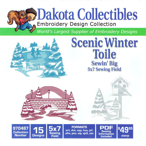 Dakota Collectibles Sewin' Big Scenic Winter Toile Embroidery Design CD