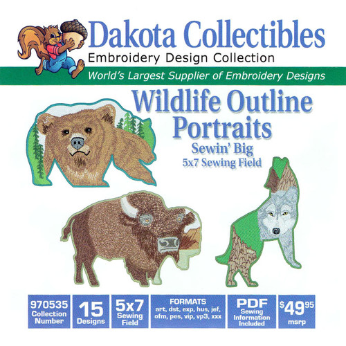 Dakota Collectibles Sewin' Big Wildlife Outline Portraits Embroidery Design CD
