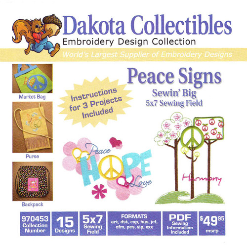 Dakota Collectibles Sewin' Big Peace Signs Embroidery Design CD