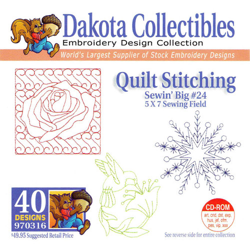 Dakota Collectibles Sewin' Big #24 Quilt Stitching Embroidery Design CD