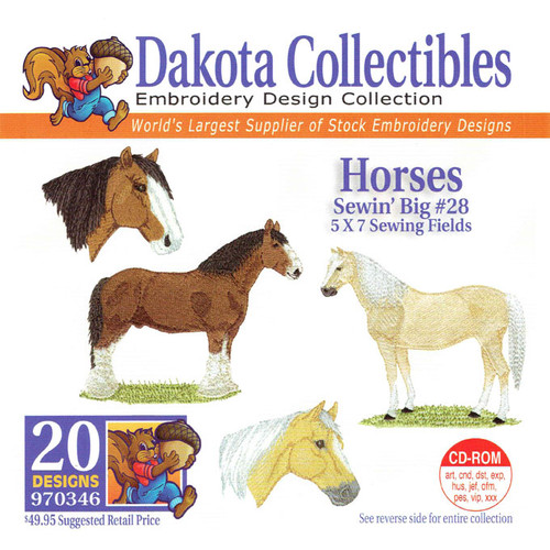 Dakota Collectibles Sewin' Big #28 Horses Embroidery Design CD