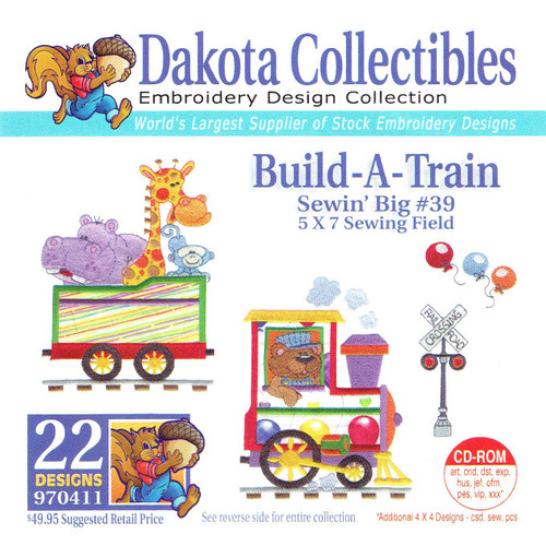 Dakota Collectibles Sewin' Big #39 Build-A-Train Embroidery Design CD