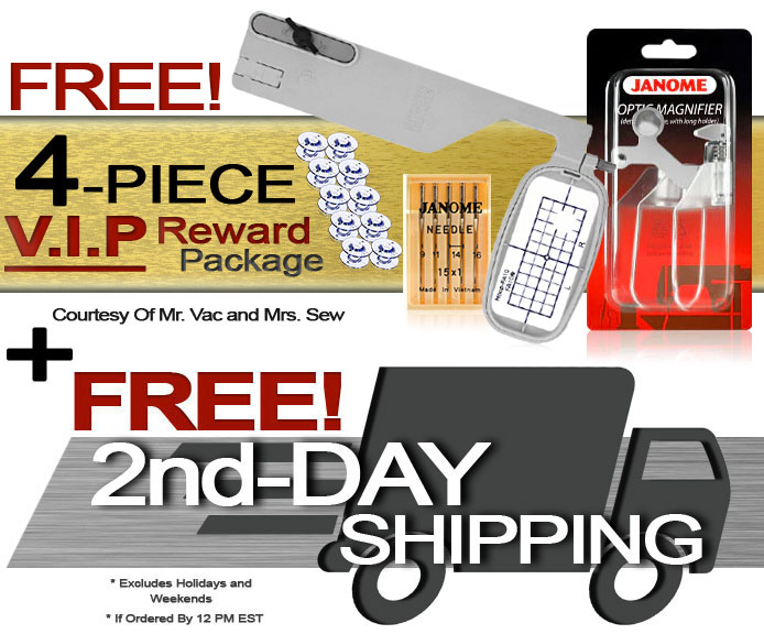 Janome Memory Craft 9850 Computerized Sewing Machine w/ FREE! 4-Piece V.I.P Reward Package and FREE! Next-Day Shipping