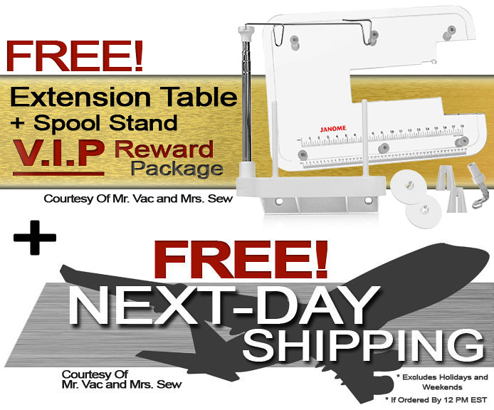 Janome Memory Craft Horizon 8200 QCP Special Edition Computerized Sewing Machine w/ FREE! Extra-Large Extension Table And Spool Stand V.I.P Reward Package and FREE! Next-Day Shipping