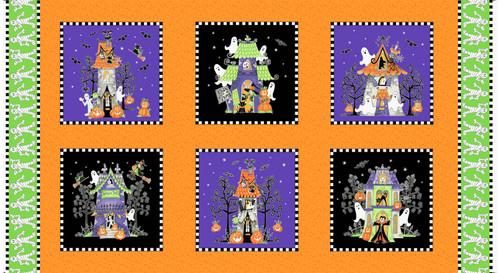 Multi Here We Glow Large Blocks Glow in the Dark Fabric 24in