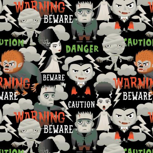 Black Halloween Beware Caution Danger