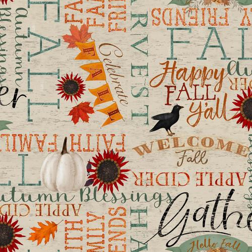 Beige Happy Fall Words