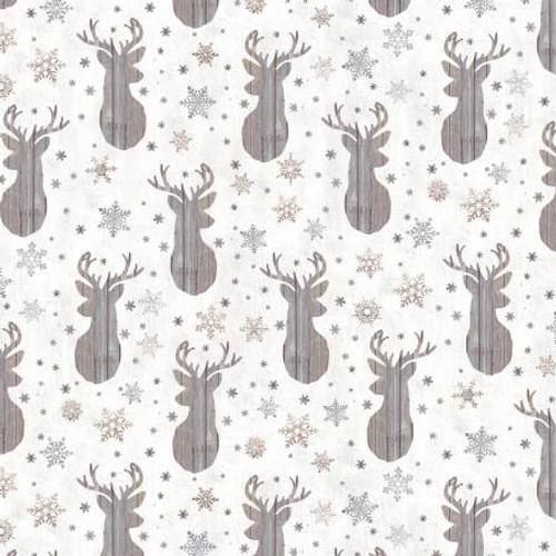 Cream Deer & Snowflakes