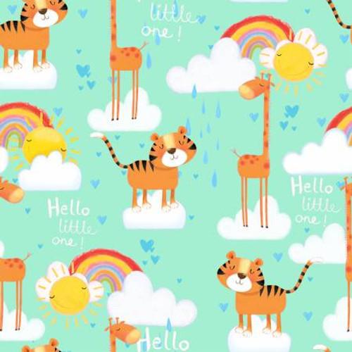 Turquoise Giraffe/Tiger Flannel