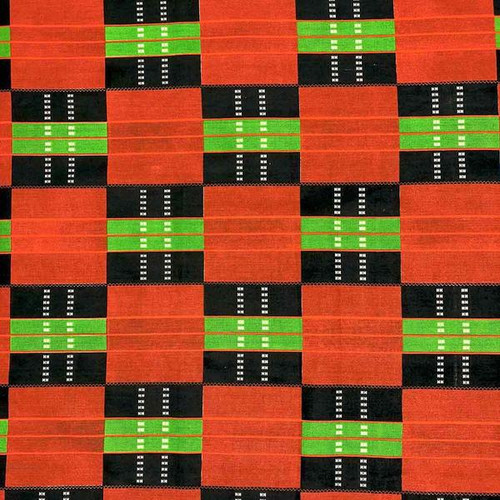 Red Green/Black Square African Print