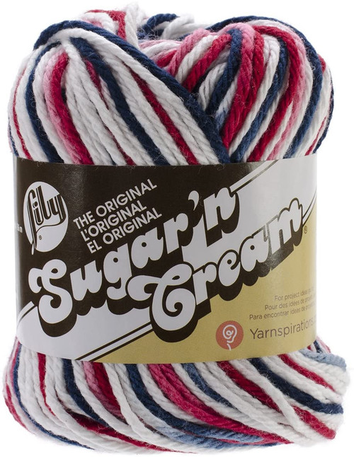 RED WHITE BLUE Ombre Lily Sugar'n Cream Yarn