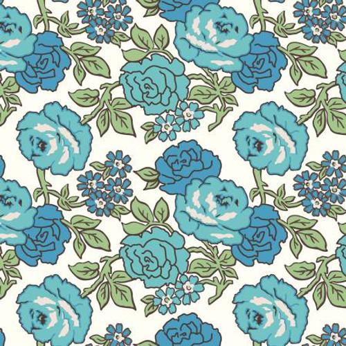 Flea Market Roses 108in Wideback Blue, 1 yard