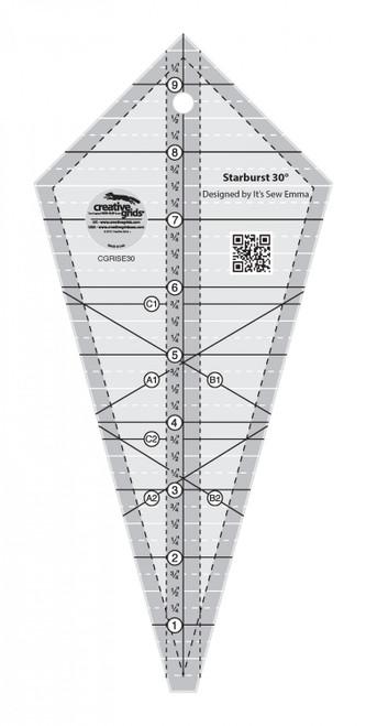 """Starburst 30 Degree Triangle Quilt 9-1/2"""" Ruler"""