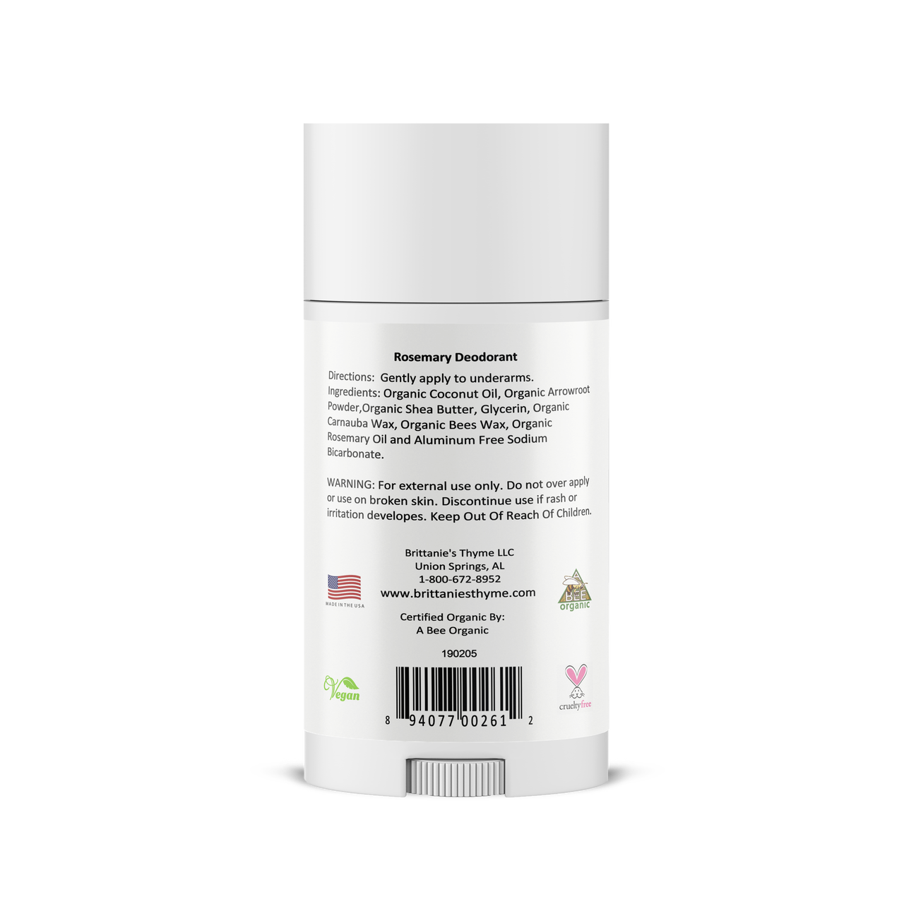 Ingredients: Organic Coconut Oil, Organic Arrowroot Powder,Organic Shea Butter, Glycerin, Organic Carnauba Wax, Organic Bees Wax, Organic Rosemary Oil and Aluminum Free Sodium Bicarbonate.