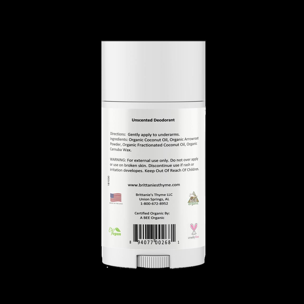 Ingredients: Organic Coconut Oil, Organic Arrowroot Powder, Organic Shea Butter, Organic Carnauba Wax, Organic Bees Wax, Aluminum Free Sodium Bicarbonate, Organic Glycerin.