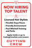 """12""""x18"""" Now Hiring Sign – Plastic w/ Suction Cups –Cutting Crew"""