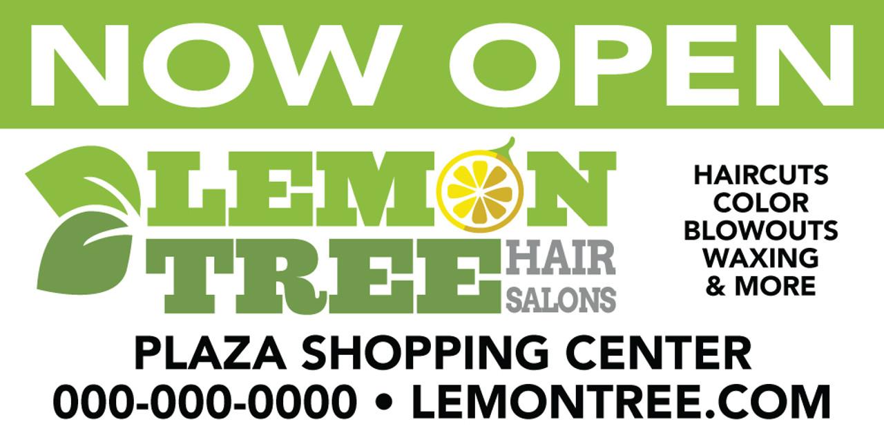 10'x4' Outdoor Banner – NOW OPEN – Lemon Tree