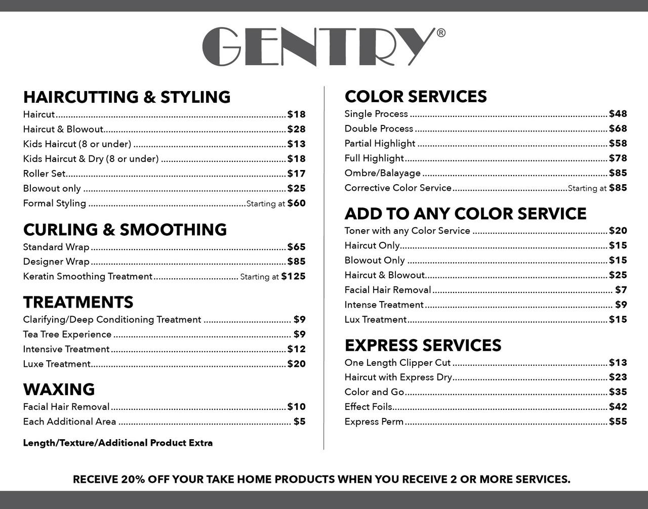 "14""x11"" Salon Menu – Gentry"