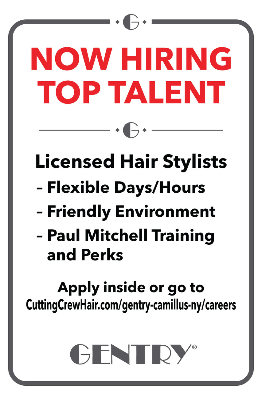 """12""""x18"""" Now Hiring Sign – Plastic w/ Suction Cups –Gentry"""