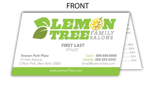 Personalized Fold-Over Business Card – Lemon Tree