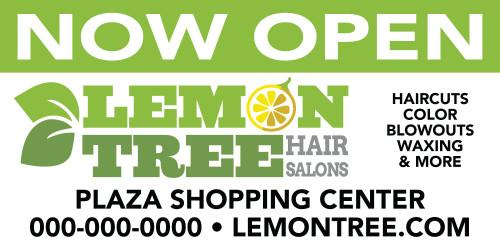 8'x3' Outdoor Banner – NOW OPEN – Lemon Tree