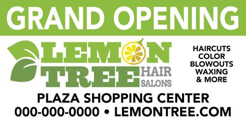 6'x3' Outdoor Banner – GRAND OPENING – Lemon Tree